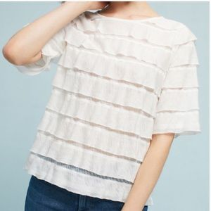 White tiered top by Anthropologie is NWT  SMALL
